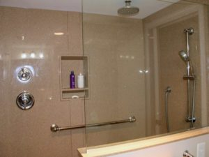 Thome Plumbing custom shower installation and other bathroom plumbing services.